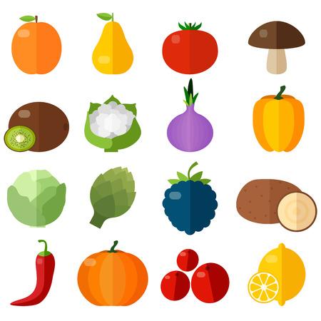 Verse groenten en fruit vlakke pictogrammen instellen. Stock Illustratie