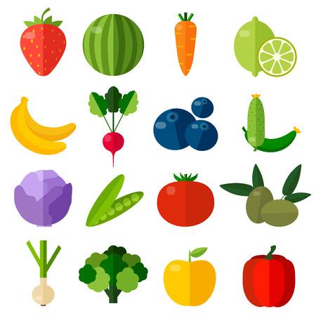 新鮮な果物や野菜のフラット アイコンを設定します。
