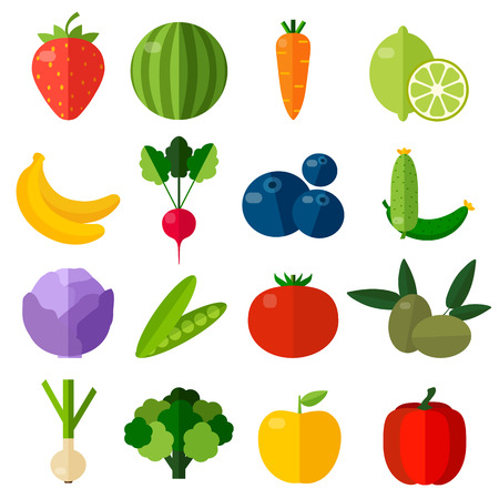 Fresh fruits and vegetables flat icons set.