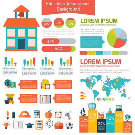 education: Flat education info graphic background.