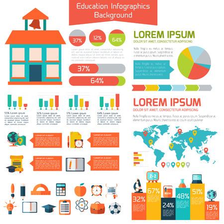 onderwijs: Flat onderwijs info grafische achtergrond.