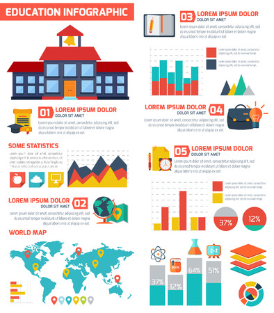 education: Flat education infographic background. Colorful template for you design, web and mobile applications.
