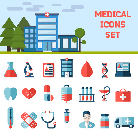 modern hospital: Medical Flat Infographic Background with Hospital. Health and Medical Care Illustration.