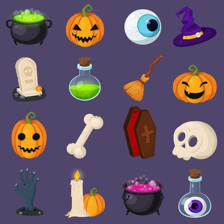 brujas caricatura: Conjunto de iconos de Halloween para su dise�o. Dise�o plano. S�mbolos de Halloween.