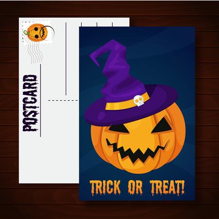 tratar: Halloween postcard with pumpkin. Trick or treat
