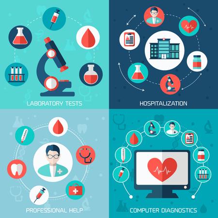 Medical concepts set with laboratory tests, hospitalizations, professional help, computer diagnostics
