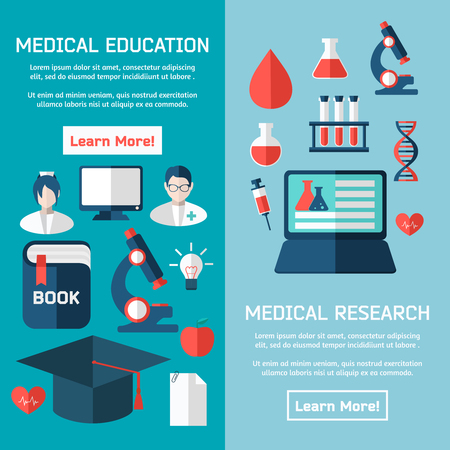 plane table: Flat design concepts of medical poster