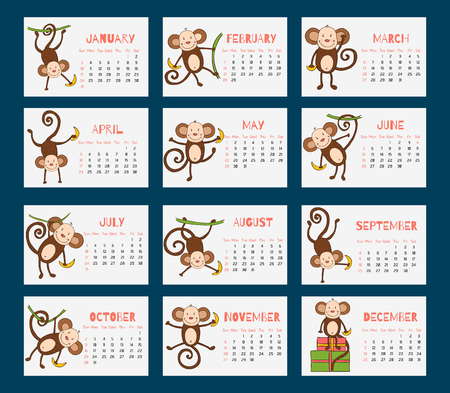 New Years design in flat style - Monkey Ilustracja