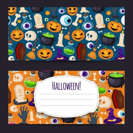 decoction: Set of two Halloween background Illustration