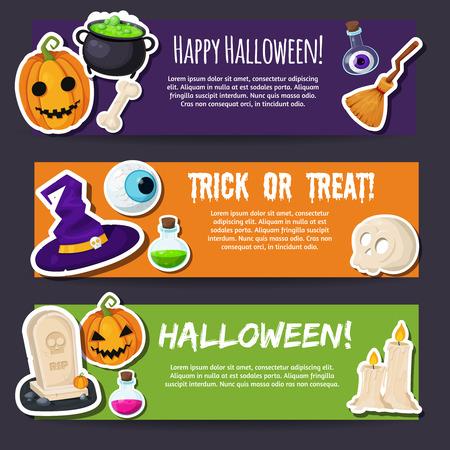 treats: Truco o trato. Feliz Halloween. Estilo Flat banderas de Halloween. Conceptos de diseño para la web banners y materiales promocionales.