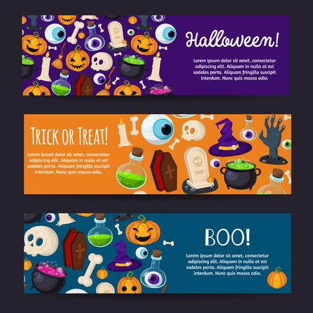 Halloween banners set illustratie Stock Illustratie