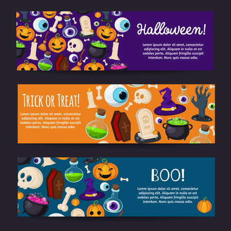 decoction: Halloween banners set illustration