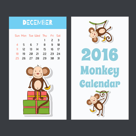 jumping monkeys: Symbol of 2016 New Years design in flat style
