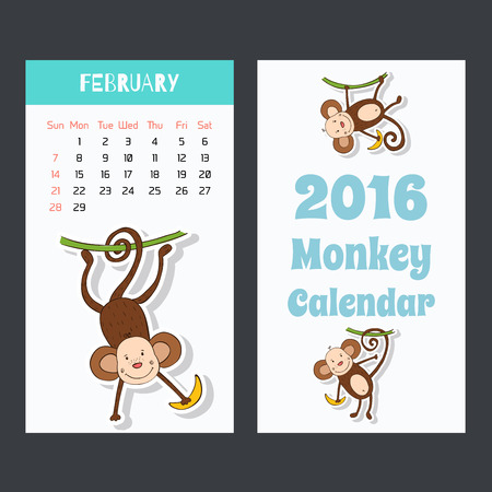 Calendar page with a monkey for 2016