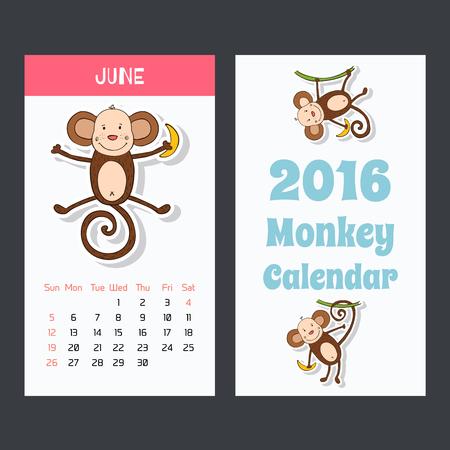 Kalender met een aap pictogrammen