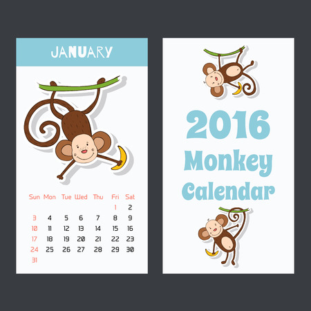Kalender pagina met een aap voor 2016