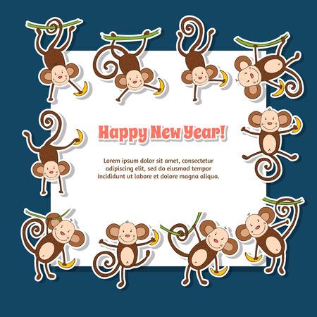 2016 begrip New Year achtergrond van de grappige aap Stock Illustratie