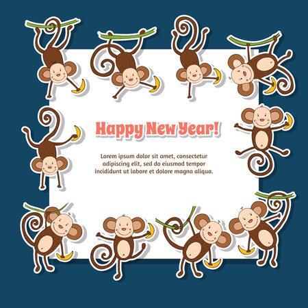 2016 concept New Year background of funny monkey
