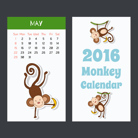 calendar page: Calendar page with a monkey for 2016