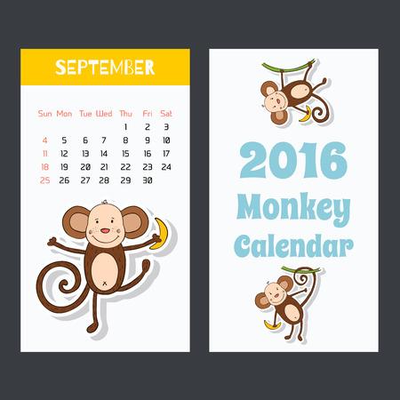 猿アイコンでカレンダー