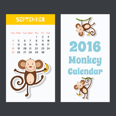 Calendar with a monkey icons