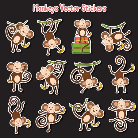 Het jaar van de Aap Icons set met apen Stock Illustratie