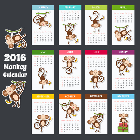 Symbol of 2016. New Years design in flat style. Calendar with cute monkeys for your design. Monkey icons.