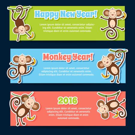 Nieuwe 2016 jaar banners met leuke grappige cartoons apen Stock Illustratie