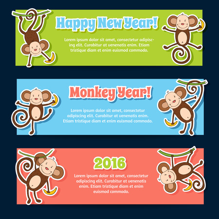 New 2016 year banners with cute funny cartoons monkeys