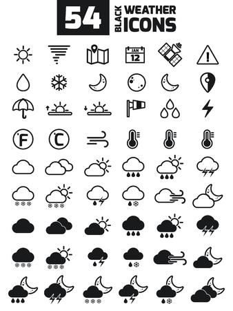 あなたのデザインのベクトル天気アイコンのコレクション。ベクトルの図。気象学のアイコンを設定します。