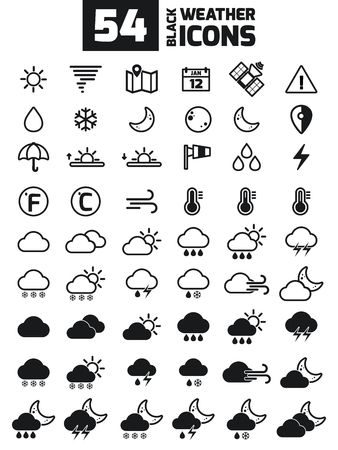 Verzameling van vector weer de iconen voor uw ontwerp. Vector Illustratie. Meteorologie Pictogrammen.