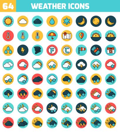 天気予報ベクトルのアイコンを設定します。ベクトルの図。