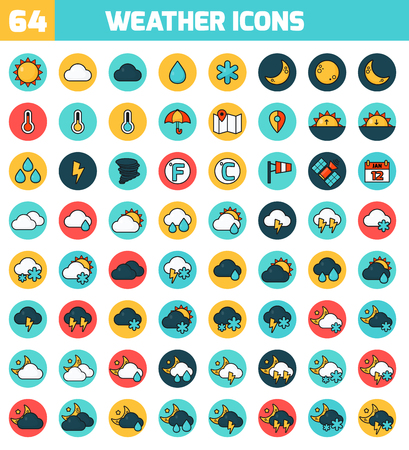 Weather Forecasting Vector Icon Set. Vector Illustration. Stock Vector - 48209606