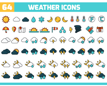 気象学のアイコンを設定します。あなたのデザインのベクトル天気アイコンのコレクション。ベクトルの図。天気予報ベクトル アイコンを設定