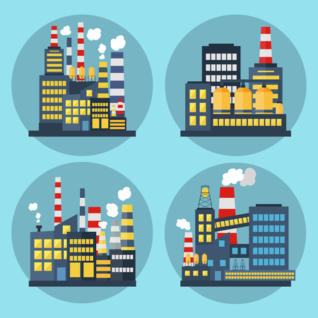 Abstract Industrial Factory. Manufacture Building. Set of Industrial Backgrounds, icons Ilustracja