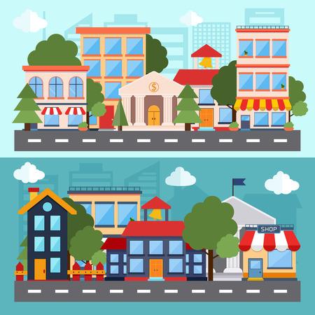 フラットなデザイン モダンなベクトル イラスト アイコンは、都市景観や都市生活のセットします。建物のアイコン。ウェブのバナーやインフォ グ