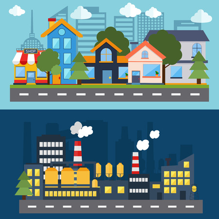 building industry: Flat design modern vector illustration icons set of factory landscape and city life. Building icon
