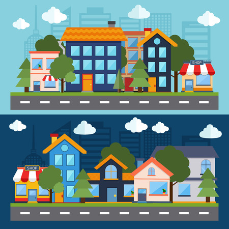 フラットなデザイン都市の景観図。建物のアイコン。ベクトルの図。ウェブのバナーやインフォ グラフィックのコンセプトです。  イラスト・ベクター素材