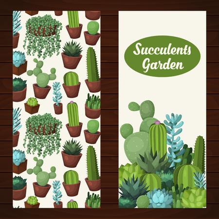 かわいい多肉植物ベクター バナー。イラスト、グリーティング カード、結婚式の招待のためのカラフルなデザイン要素です。