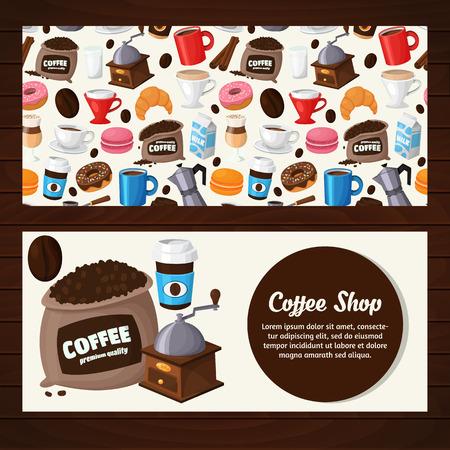 コーヒー ショップ、コーヒーハウスのモダンなアイコン。カラフルなテンプレートをデザイン、プリント、イラスト  イラスト・ベクター素材