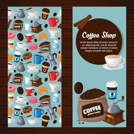 Moderne iconen voor koffieshop en koffie huis. Kleurrijke sjabloon voor uw ontwerp, prints en illustraties