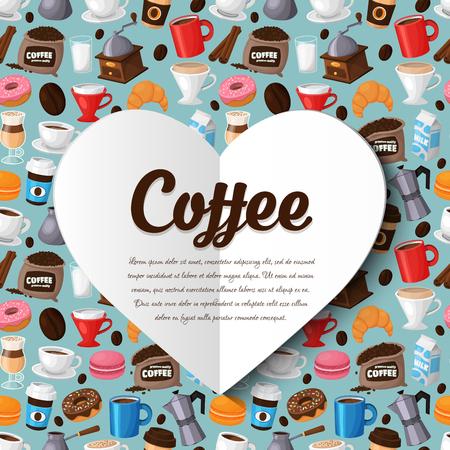 コーヒー ショップ、コーヒーハウスのモダンなアイコン。料理とレストラン メニューのカラフルなテンプレート  イラスト・ベクター素材