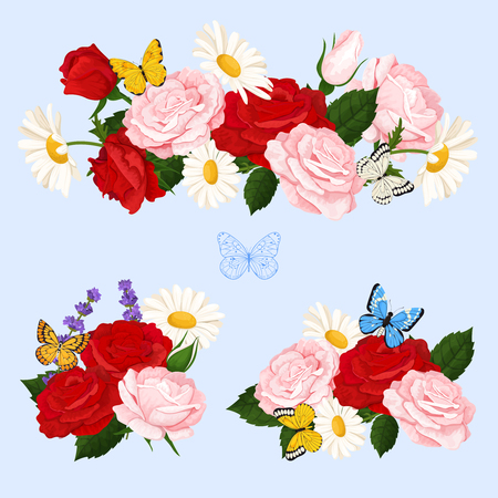 Colorful design elements for for illustrations, greeting cards, wedding invitations and happy valentines day.