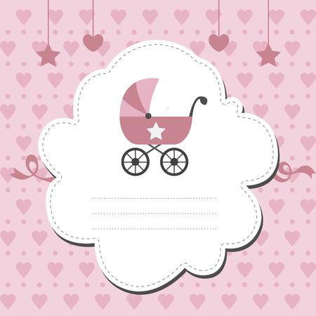 baby girl: Baby shower invitation for girl Illustration