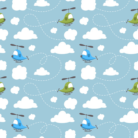helicopter: Baby seamless pattern. Cartoon helicopter flying in the sky