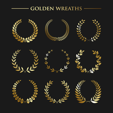 gold leaf: Set of  luxury golden wreaths on a black background. Vector design elements Illustration
