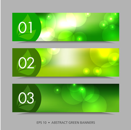 neon plant: A set of green banners