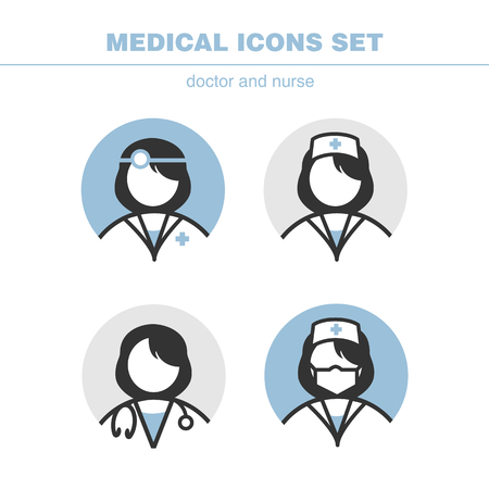 Medical icons set doctor and nurse