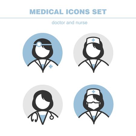 pielęgniarki: zestaw ikon medycznych lekarz i pielęgniarka