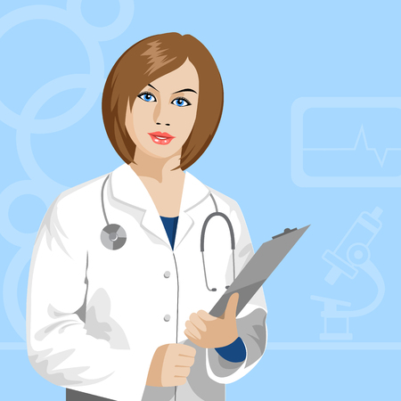 hospital gown: female doctor with stethoscope Illustration